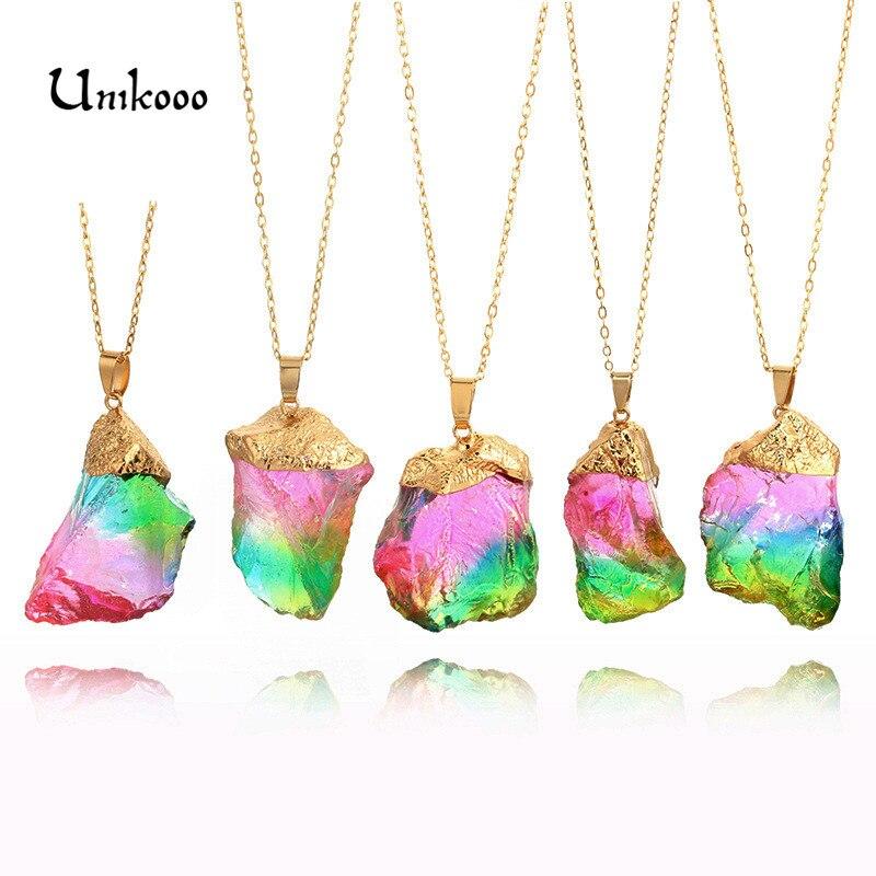 Rainbow Raw Crystal Necklace Raw Quartz Jewelry Healing Crystal Pendant Bohemian Necklace Gypsy Necklace Bohemian gift idea