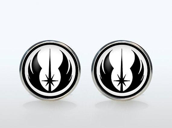 Superheroes Star Wars Silver Plated Round Glass Cufflinks