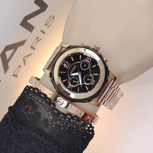 f4887c7222b7 New Arrival Fasion GUOU Brand Luxury Steel 3 Eyes Waterproof Quartz Women  Ladies Wedding Quartz Wristwatches Wrist Watch Gift