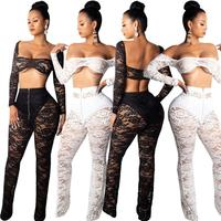 Sexy Lace Two Piece Set Top And Pants Summer Suit Birthday Outfits For Women Woman Clothing Sets Ladies Party Clubwear DT653
