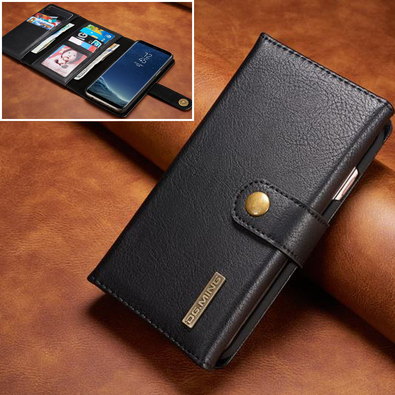 2 in 1 Flip For Samsung Galaxy S8 Case Cover Luxury Leather Wallet + Plastic Hard Magnet ...