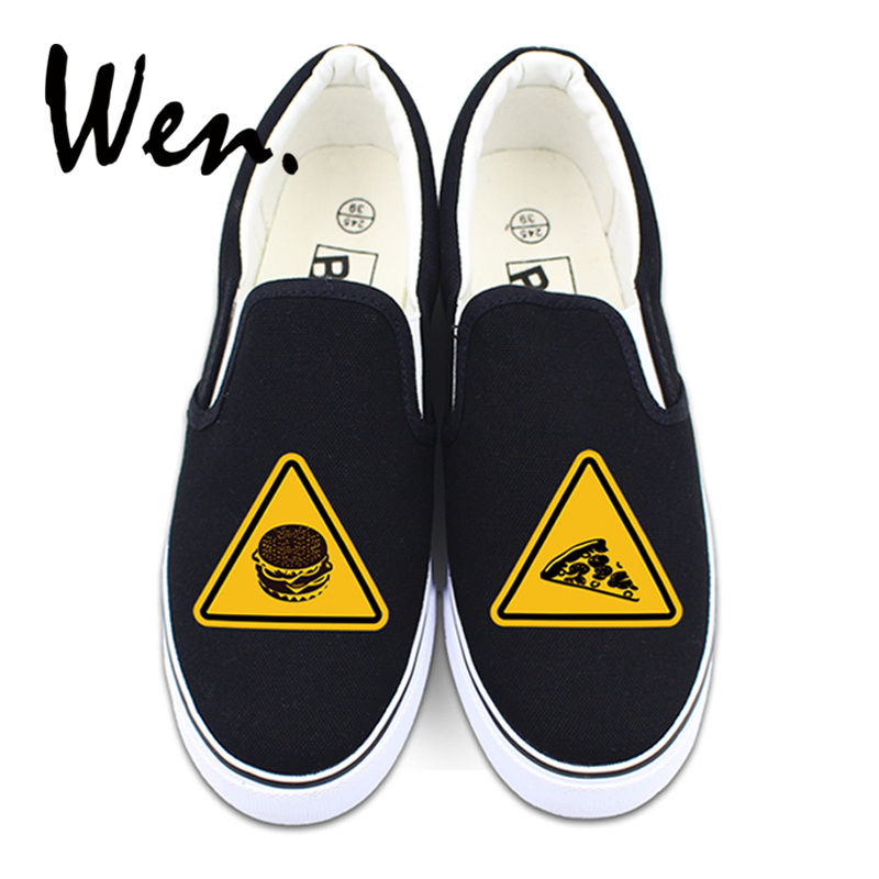 Wen Man Woman Sport Athletic Wearing Sneakers Original Design Hamburger Pizza on Traffic Warning Signs Slip On Canvas Shoes