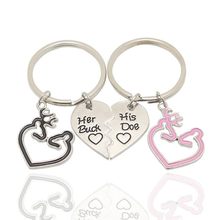 Creative 2 Pieces Her Buck His Doe Keychain Love Couple Key Chain Elk Deer Ring Fashion Christmas Gift