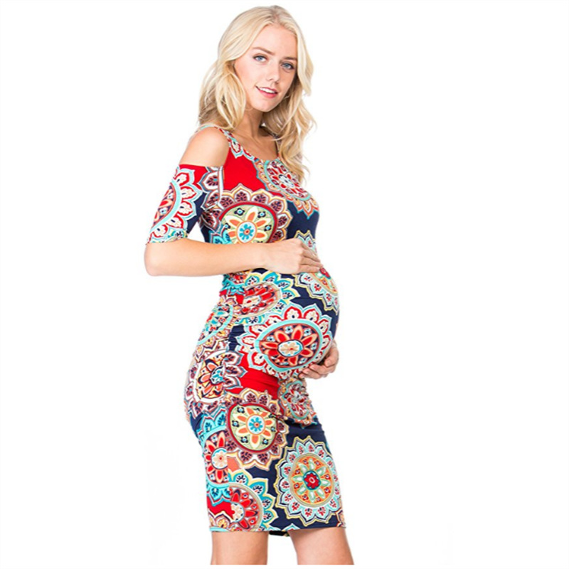 2019 New Pregnant Dress Loose Floral Print O-Neck Short Sleeve Stitching Big Swing Pregnant Women Dresses2019 New Pregnant Dress Loose Floral Print O-Neck Short Sleeve Stitching Big Swing Pregnant Women Dresses