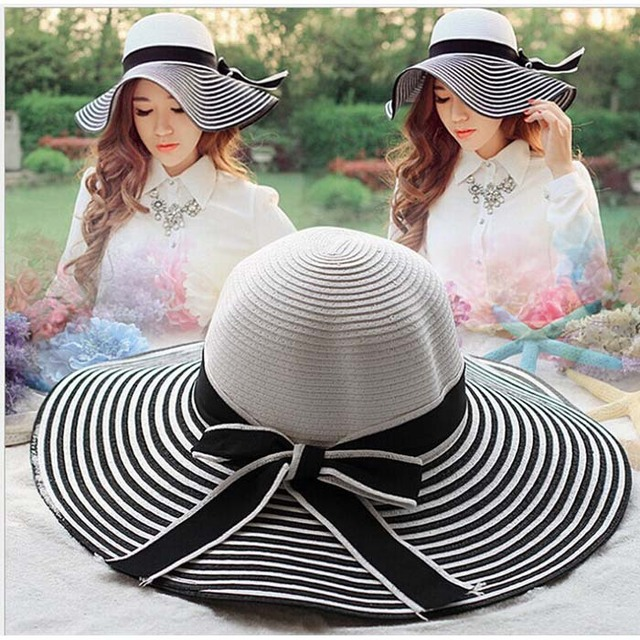 fcc68bc8 Hot Sale Fashion Wind Black White Striped Bowknot Summer Sun Hat Beautiful  Women Straw Beach Hat Large Brimmed Hat