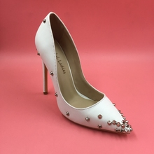 2016 Real Image White Pumps Rivets Summer Style Ladies Party Shoes Rivets Sexy Plus Size Chaussure Femme High Thin Heels