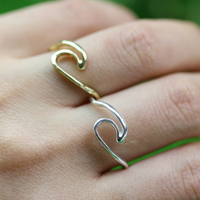 1pcs New Arrive Ocean Wave Ring Recycled Silver Ring Birthday Gift