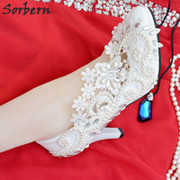 Sorbern Lace Crystal Women Pumps Sexy Bridal Wedding Shoes Real Image Women Shoes With Pearls Flower Shoes Women Heels 2018