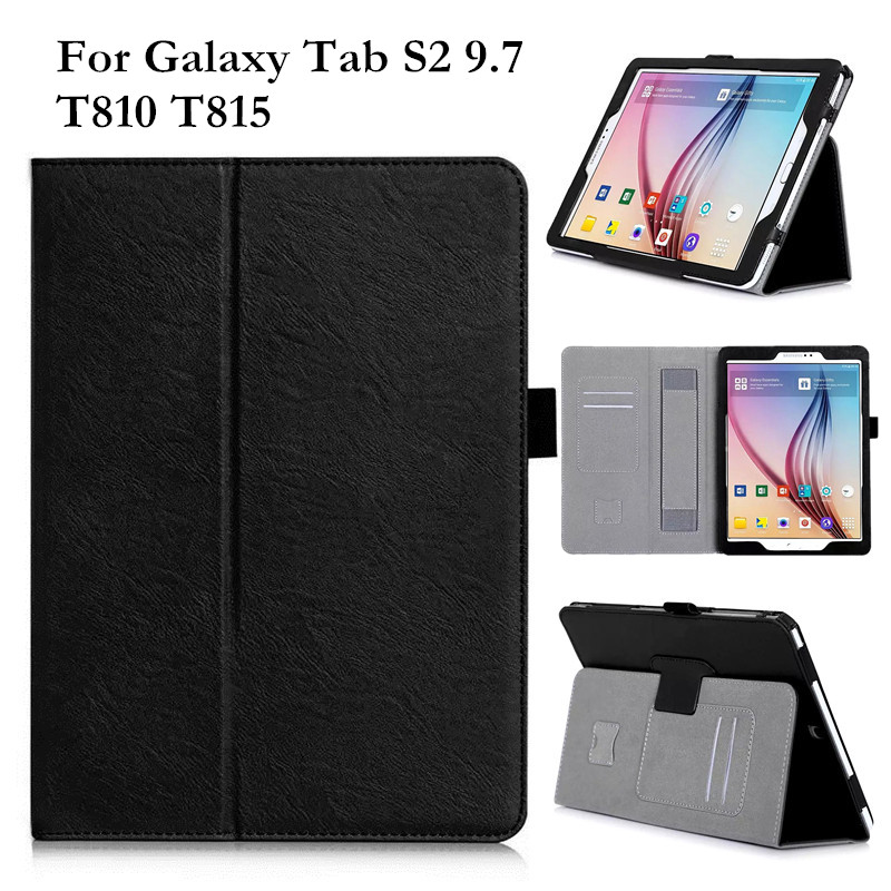 For Samsung Galaxy Tab S2 9.7 Inch SM-T810 T815 T813 T819 Flip PU Leather Case Tablet Stand Cover with Card Slots Hand Holder colorful magnetic pu leather case cover for samsung galaxy tab s2 8 0 sm t710 t715 tablet stand with card holder y4d33d