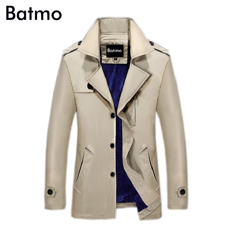 Batmo 2017 new winter wram trench coat Men single Breasted Trench Coat Men Outerwear Casual Coat Men's Jacket Windbreaker