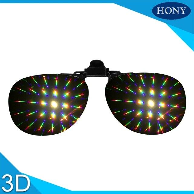 690cf1980ca 20pcs Cheap Clip On Diffraction Glasses For Dance Music Events - 3D Prism  Effect EDM Rainbow