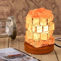 Natural Himalayan Salt Lamp, Iron Art Salt Lamp Night Light, Crystal Lamp,Air Purification, with Dimmer Switch, Creative Gifts