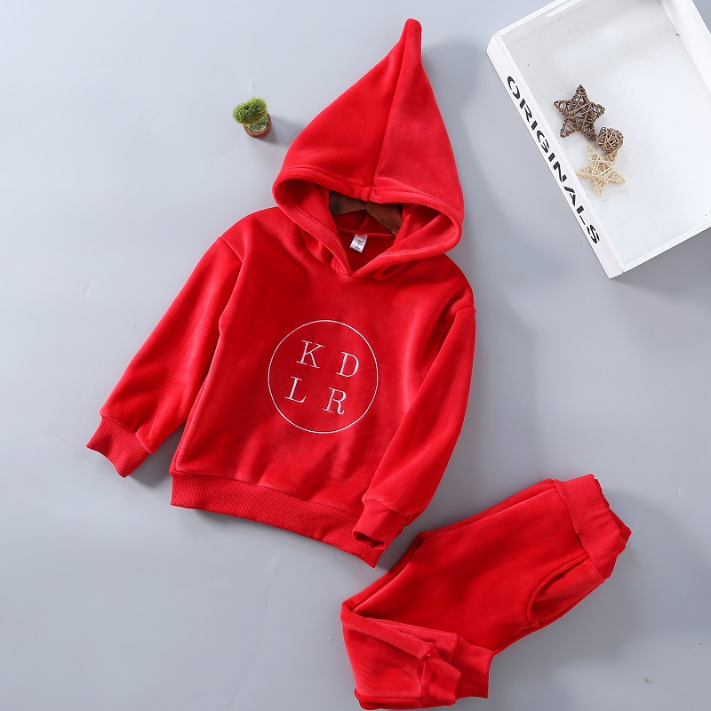 2017 New Autumn Letter Kids Tracksuit Boys And Girls Top Quality Clothing Sets Toddlers Suits Hooded Coat + pants For 3-8T spring autumn kids clothes sets for boys girls hooded sweatshirts pants children gold velvet clothing suits