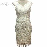 Leeymon Lace Chiffon Mother of the Bride Dresses 2017 V Neck Mother's Gowns Knee Length Vestido De Festa LY1623