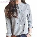 Camisas de las mujeres de nueva Corea moda de primavera y verano delgado ocasional camisas del bordado de rayas de Cuello de pie blusa de las mujeres más tamaño, LB1544