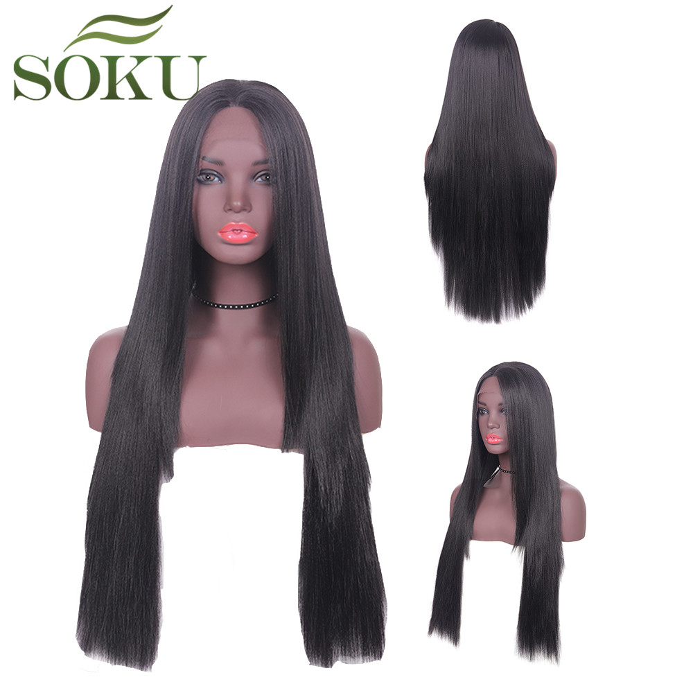 SOKU Wigs Lace-Front Synthetic Black-Women 30inch Hair-Wig Trendy Straight Long for Free-Part