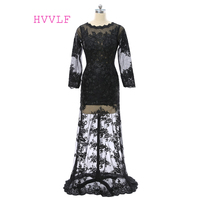Black Evening Dresses 2017 Mermaid Long Sleeves See Through Appliques Lace Women Long Evening Gown Prom