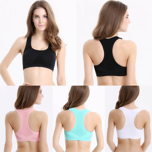 Feitong new Women Crop Tops Yo-ga Bras Female Seamless Racerback Padded Vest Fitness 4 colors High Quanlity