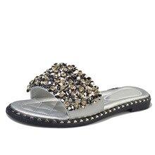 Women Casual Summer Flat Beach Slippers Female Crystal Rivets Slides Slipper Shoes For Girls Fashion Woman Leisure Footwear 2019