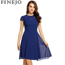 FINEJO Keyhole Back Fit and Flare Chiffon Dress summer spring 2018 Robe de femme Vestido de mujer Vestido das mulheres