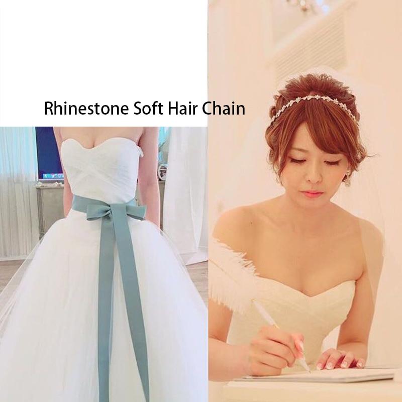 Rhinestone Crystals Lace Ribbon Soft Headband Hair Chains Head ...