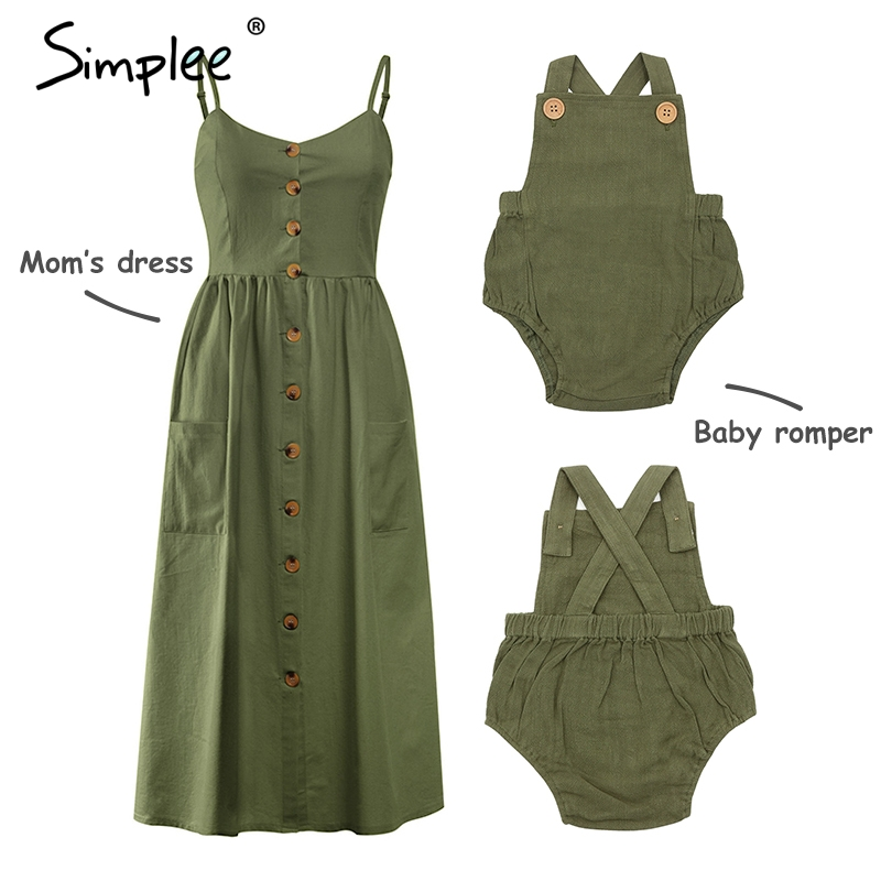 HTB19.dXclKw3KVjSZFOq6yrDVXaC Mother and kids casual button dress Solid matching mom baby family clothes outfits beach dress Cute baby romper mom summer dress