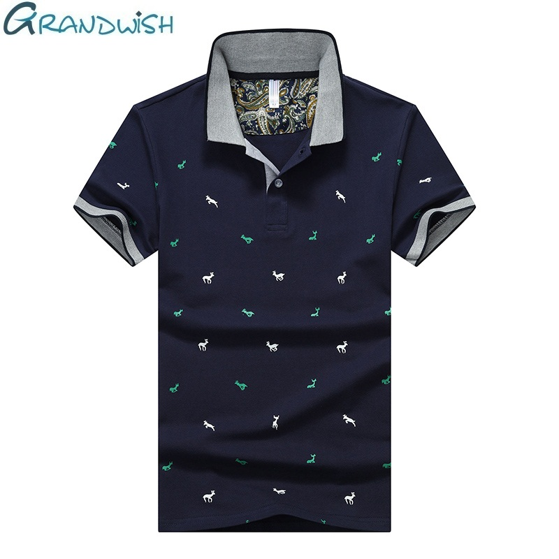 Grandwish Summer   Polo   Shirt Men 95% Cotton Breathable Print Mens   Polos   Shirts with Short Sleeve Solid Color Men's Clothing,NA038