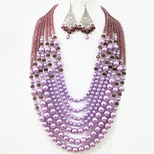Romantic violet round shell simulated-pearl abacus crystal 7 rows necklace earrings set lovely women beauty jewelry B1310