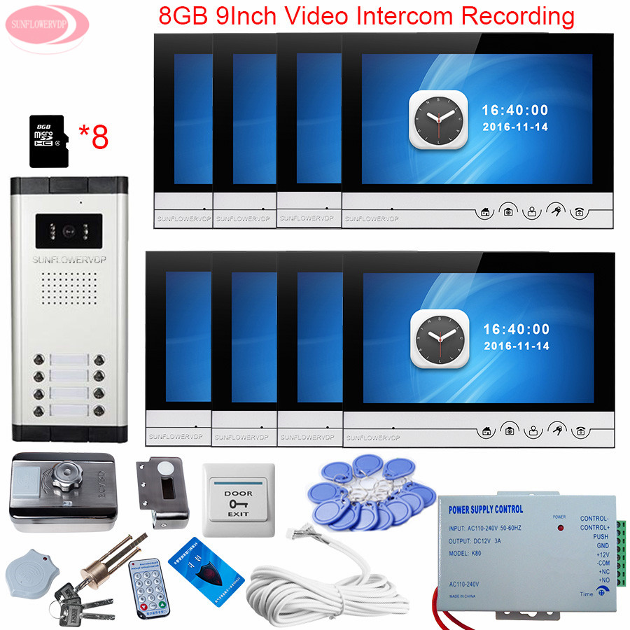 For 8 Apartments 9'' Intercom Video Intercom With Recording 8GB TF Card Screen For Doorphone Monitors +Rfid Door Lock Videophone