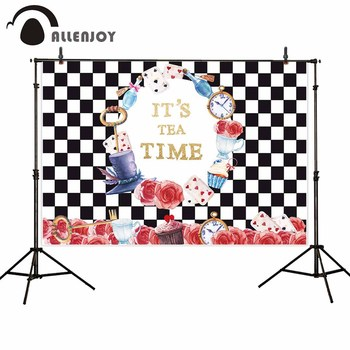 Allenjoy photographic background Black and white lattice Alice wonderland party backdrops photography photocall for the photo image