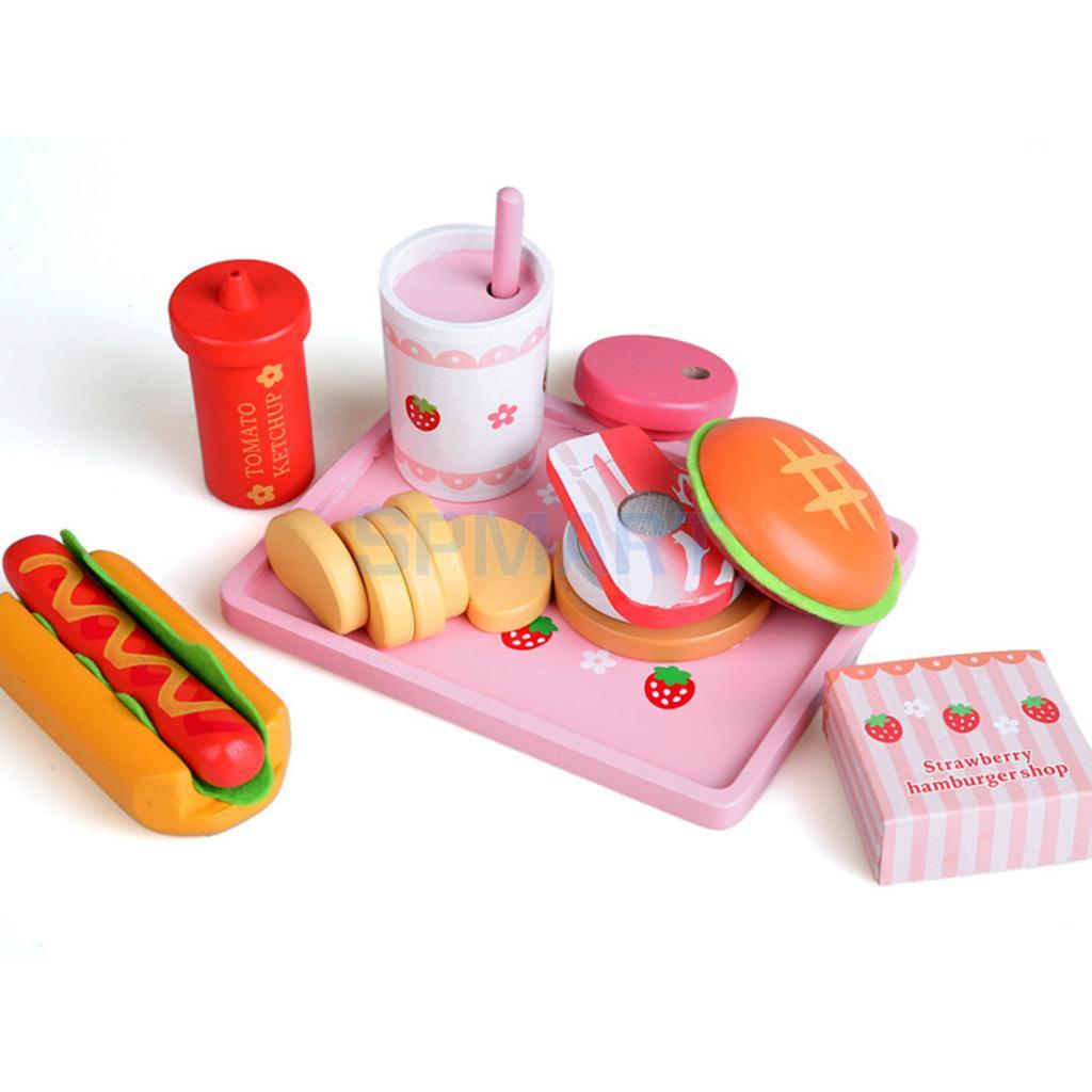 Деревянный Кухня Еда Пособия по кулинарии игровой набор для детей-6 шт. (гамбургер, хот-дог и больше) ...