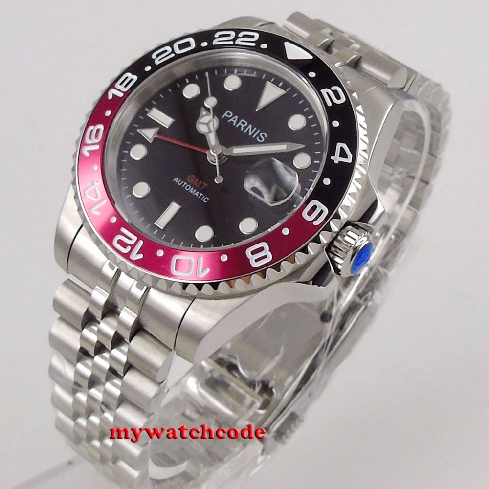 лучшая цена Parnis 40mm Mechanical Watches GMT Pepsi Bezel Watch Automatic Stainless Steel Sapphire Mens Luxury Watch