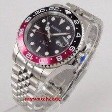 Parnis 40mm zegarki mechaniczne GMT Pepsi Bezel zegarek automatyczny szafirowy męski luksusowy zegarek ze stali nierdzewnej