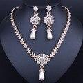Mujeres Imitado Cristal Simulado Perla Conjuntos de Joyas de Oro Collar Pendientes Accesorios de Boda