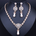 Women Imitated Crystal Simulated Pearl Jewelry Sets Gold Plated Necklace Earrings Wedding Accessories