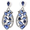 Fashion Tanzanite, White Cz Created SheCrown Woman's Wedding   Silver Earrings 30x13mm