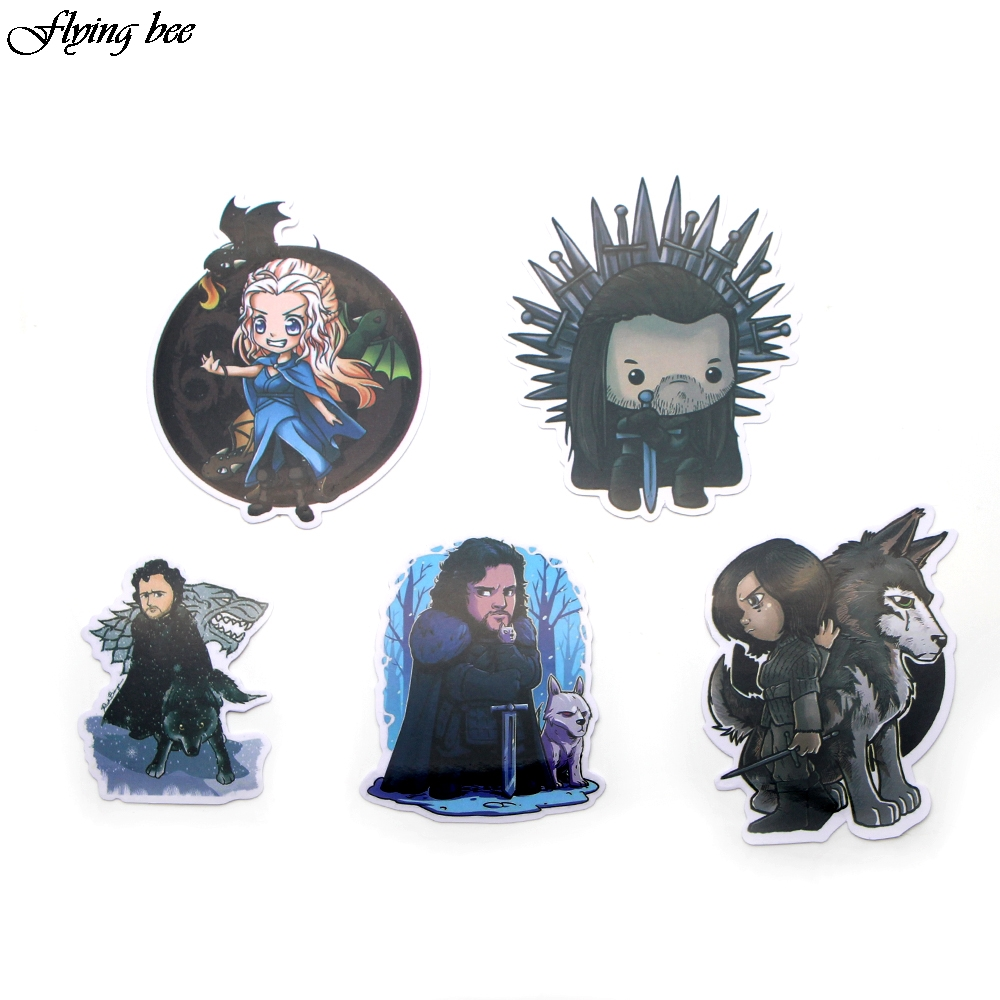 Flyingbee 23 Pcs Game Of Thrones Waterproof Stickers Kids Toy Sticker For Diy Luggage Laptop Skateboard Car Phone Decor X0036