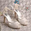 Wedopus MW453 Dropship Bridal Shoes Sandals Lace Ivory Women Peep Toe Slingback Heels New Style