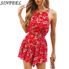цена на Sexy Spaghetti Strap Backless Bodycon Dress Women Sleeveless Halter Summer Boho Beach Dress Floral Print Short Party Mini Dress