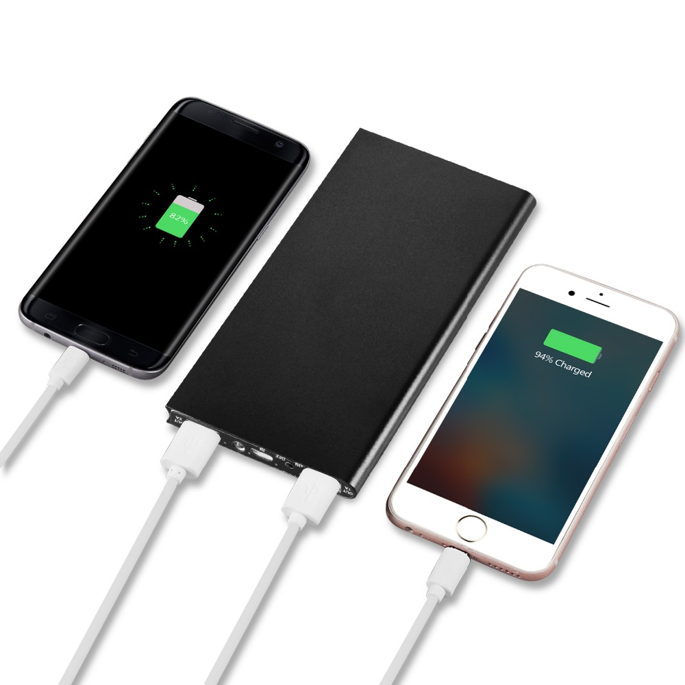 Ultra-thin Power Bank 12000mah Dual USB Metal Case Polymer External Battery Portable Charger powerbank for Smart Mobile Phone