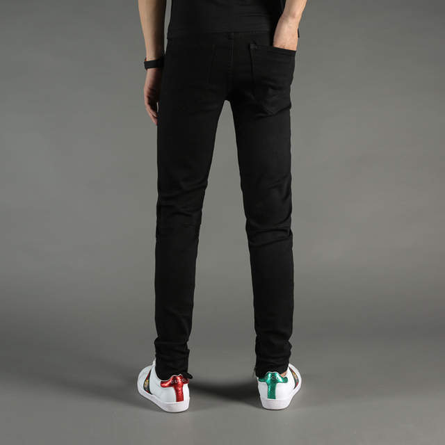 dd537097a49 High Street Fashion Mens Jeans Black Color Denim Knee Hole Ripped Jeans Men  DSEL Brand Skinny