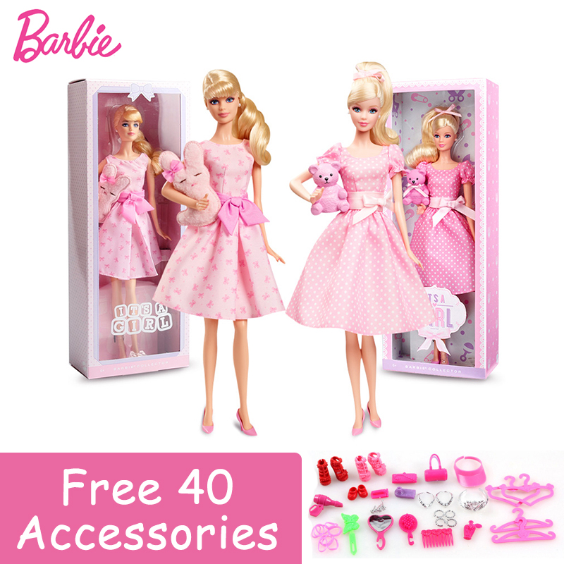 Barbie Limited Collection Doll Pink Skirt Blessing Girl Baby Bear Fashion Toy Pretty Girl Friend Barbie Boneca Set Mode X8428