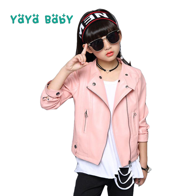 ea336d2acd65 Girls Leather Jacket 2019 New Spring Autumn Fashion Kids Coat for ...