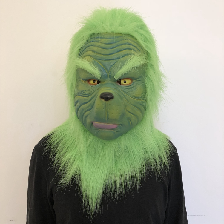 The Grinch Cosplay New Green Grinch Head Cover Latex Mask  Unisex Chrismas Halloween Purim Party Cosplay Ball Role Playing Props