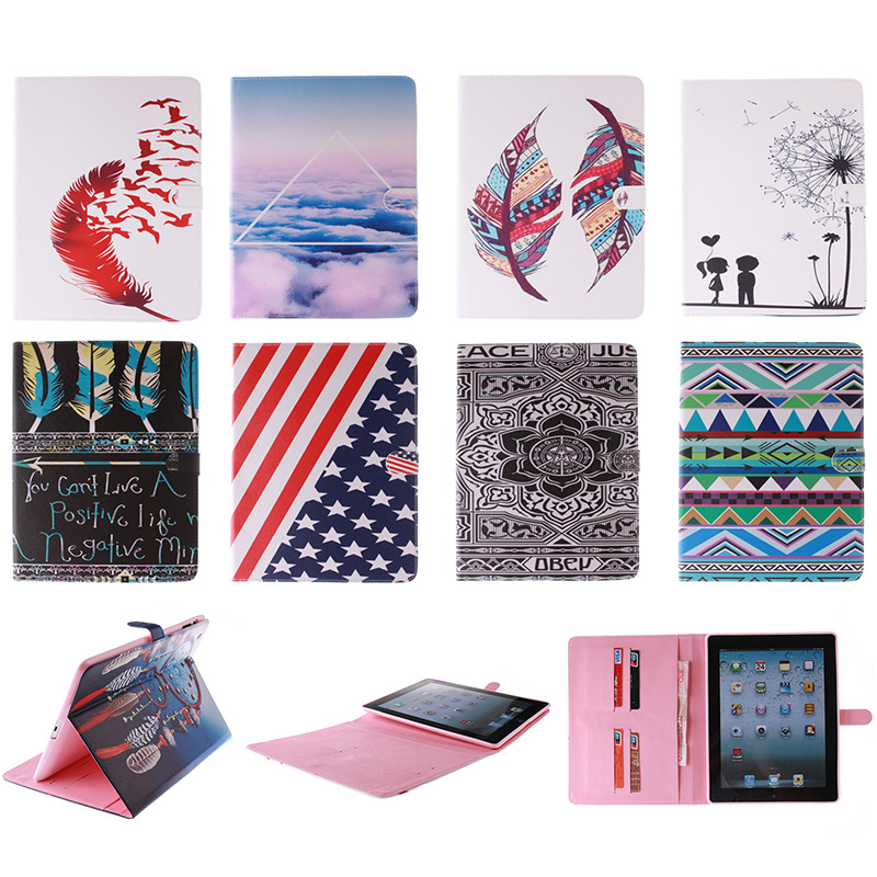 Fashion Feather Lotus Cloud Pattern PU Leather Flip Wallet Case For iPad 2 3 4 9.7 Back Cover Coque For iPad2 iPad3 iPad4