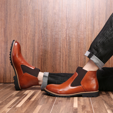 New Arrival Luxury Brand Men Genuine Leather Shoes Cowboy Western Martin Chelsea Ankle Boots For Men Big Size 38-48 цены онлайн