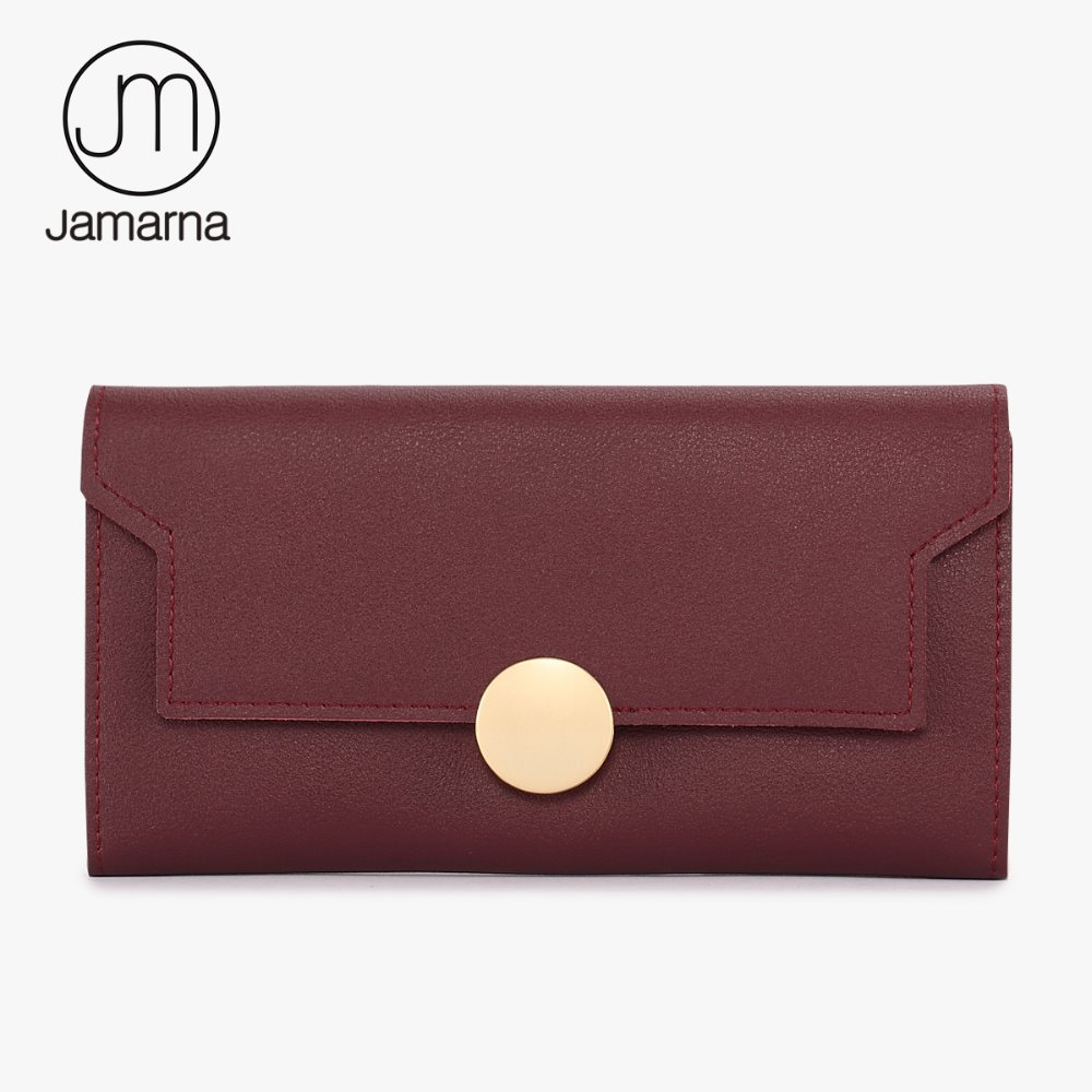 Jamarna Women Wallet Genuine Leather Red Trifold Long Purse Clutch Card Holder Photo Pocket Fasion Hasp Brand New Free Shipping baellerry famous luxury brand baelerry leather womens wallet long hasp trifold purse women clutch carteira handbag billfold