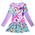 Baby Girls Summer Dress 2016 New Arrival Long Sleeve My Children Dress Cartoon Little Pony Print Purple Pink Frock For 3-8 Years