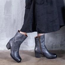 2d0a132ca9 Outono e inverno retro botas Martin Britânico personalidade moda cabeça  quadrada de salto alto grosso das