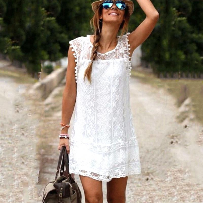 Hot Summer Beach Dress Women Casual  Sleeveless Dress Tassel  Vestidos  Sexy Lace MIni Dress Solid White  Plus Size XXL